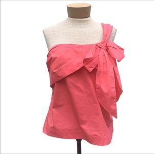 NWT J Crew Pink One Shoulder Bow Top 10